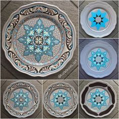 Make some mandala plate DIY. get plane thrift store plates and paint for kitchen decor . Dot Art Painting, Mandala Painting, Pottery Painting, Ceramic Painting, Stone Painting, Mandala Dots, Mandala Pattern, Arabesque, Painted Ceramic Plates