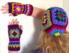 Mittens gloves crochet granny squares multicolor woll with acrylic boho style. *** All things are hand made by me in a smoke-free and pet-free apartment, washed with neutral detergent and are ready to use/wear. Care instructions: Hand wash in cold water with detergent for wool or