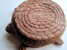 Hey, I found this really awesome Etsy listing at https://www.etsy.com/listing/208927903/vintage-pine-needle-turtle-hand-woven
