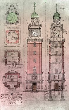 La torre de los ingleses - Retiro - Buenos Aires Monumental Architecture, Byzantine Architecture, Neoclassical Architecture, Vintage Architecture, Architecture Drawings, Historical Architecture, Architecture Details, Building Drawing, Victorian Gothic