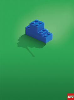 Less is More: Creative and Inspiring Minimalist Print Ads - Lego: Tank - This minimalist ad shows that real objects can be created by LEGO toys by showing a shadow of a tank.