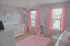Grey and pink nursery... omg i loveee it! this is the exact floor plan of the nursery!!! omg! my heart just droped!
