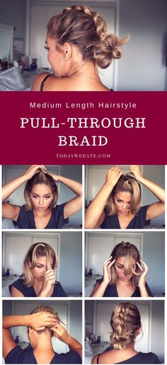 3 Super Easy Shoulder-length Hairstyles That Will Upgrade Your Date Night Look In Less Than 5 Minutes hairstyles/date night hairstyles/first date hairstyles/ pony tails/braided hairstyle/ hairstyles for medium length hair/hairstyles for short hair/hai Hairstyles For Medium Length Hair Tutorial, Medium Length Hairdos, Braids For Medium Length Hair, Hair Medium, Braids For Thin Hair, Medium Long, Styling Shoulder Length Hair, Medium Hair Updo Easy, Short Hair Tutorials