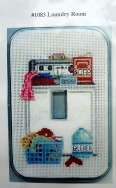 LAUNDRY-ROOM-Single-Switch-Plate-Cover-Cross-Stitch-KIT-Crafters-Pride