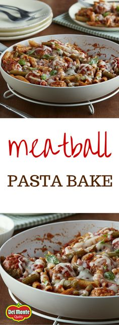 Meatball Pasta Bake - So simple, but a real family pleaser, this one pot Italian meatball skillet casserole is ready for the oven in just 10 minutes. A great way to sneak in veggies and green beans into a comfort food recipe.
