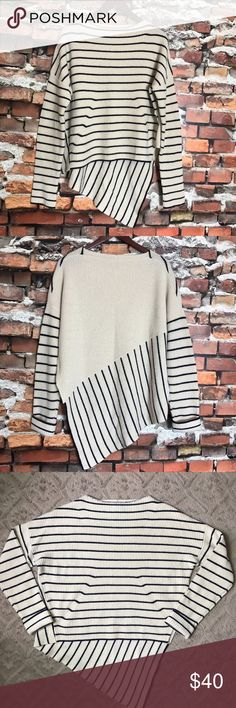 "Brochu Walker Wool Cashmere Asymmetrical Sweater L Brochu Walker Wool Cashmere Black Cream Striped Asymmetrical Hem Sweater Large  *Excellent Used Condition!  Measurements: 46"" Bust 22""-34"" Length Brochu Walker Sweaters"