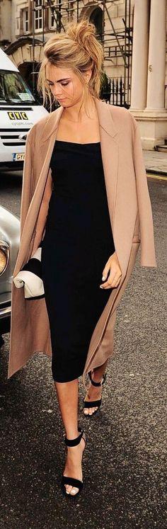 #street #fashion Cara Delevingne casual black dress @wachabuy