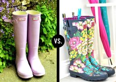 Solid rainboots vs. Printed rainboots... This is a hard one