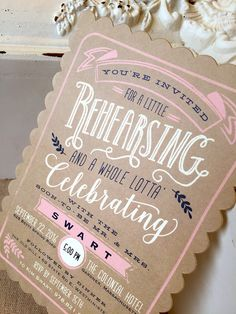 Rustic + modern wedding invitation idea - brown cards with pink + navy blue details  {Happy Frog Invitations}