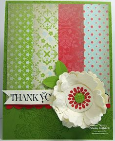 Card made by Becky Roberts using some Stampin' Up! Sale-a-Bration DSP and the mixed bunch stamp set and punch. May have to CASE this one.