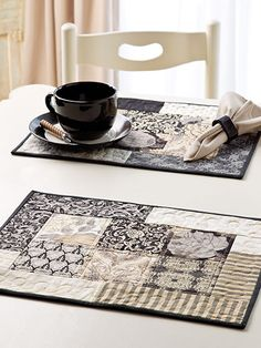 """Create a quick runner and matching place mats using precut 10"""" squares."""