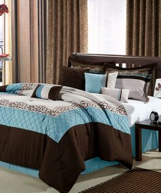 Blue And Brown Bedroom Set 7-pc new black comforter set flocking satin brown burgundy blue