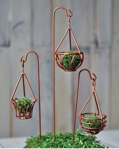 Fairy garden copper hanging pot holders #fairyfurniture