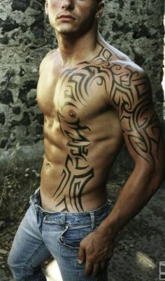 Insanely Awesome Tribal Tattoo Ideas For Men - Blurmark - Half sleeve tattoo, continues over the man chest. Insanely Awesome Tribal Tattoo Ideas For Men - Blurmark - Half sleeve tattoo, continues over the man chest. - The Best Tatu. Tribal Tattoos For Men, Tribal Tattoo Designs, Tattoos For Women, Tribal Sleeve Tattoos, Chest Tattoos For Men, Half Sleeve Tattoos For Guys, Sexy Tattoos, Body Art Tattoos, Feminine Tattoos