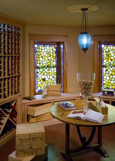 Spindrift traditional wine cellar- The stained glass windows look like the bottom of wine bottles.
