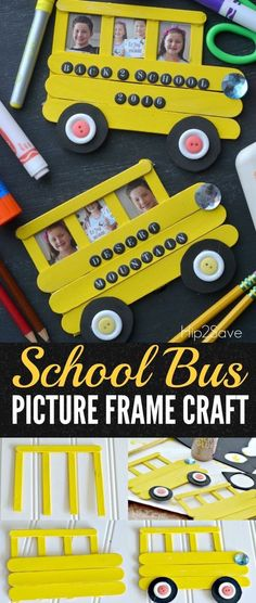 Craft Stick School Bus (Back to School Idea) is part of School crafts For Preschoolers Create this school bus frame out of craft sticks to display back to school photos as a fun keepsake - Popsicle Stick Crafts, Craft Stick Crafts, Preschool Crafts, Fun Crafts, Arts And Crafts, Craft Sticks, Baby Crafts, Popsicle Sticks, Simple Crafts