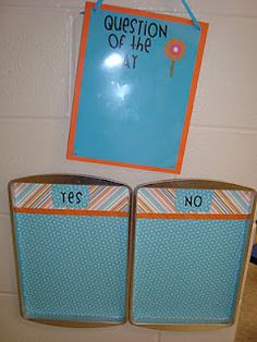Mentee Classroom Management Tip: Question of the Day - Takes care of attendance too! Classroom Layout, Classroom Organisation, Classroom Displays, Future Classroom, Classroom Ideas, Classroom Design, Classroom Inspiration, School Organization, Preschool Rooms