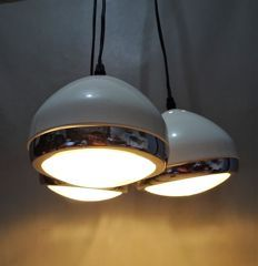 Cascade Pendant Light with 3 lightpoints, white & chrome round shades in the shape of car headlights