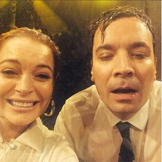 Jimmy Fallon's post-Water War selfie with Lindsay Lohan.