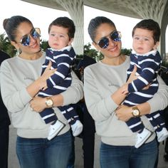 Taimur Ali Khan was spotted with his mother Kareena Kapoor Khan, and we can't help but go 'aww' over his cry face. The little cherub is accompanying his mom on her visit to Delhi as she would be starting to shoot for her film Veere Di Wedding. Bollywood Stars, Bollywood Fashion, Pakistani Actress, Bollywood Actress, Taimur Ali Khan Pataudi, Veere Di Wedding, Celebrity Style Casual, Celebrity Kids, Airport Look