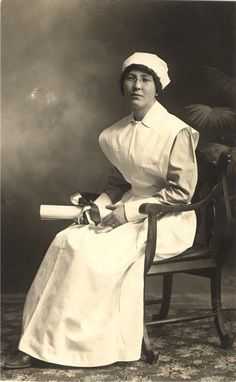 Nurse Ida G. Berver sitting for portrait after earning her degree, United States, ca. 1910.