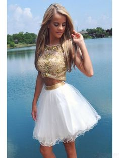 two piece gold bodice homecoming dress #SIMIBridal #homecoming
