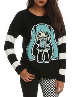 Black & white knit sweater with Hatsune Miku// YEEEEEESSSS