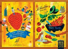 "Mexican illustrator Charles Glaubitz created these illustrations, which were inspired by Mexican hand painted signs and one of Mexico's most know and traditional dishes ""taco""."