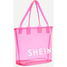 SheIn(sheinside) Hot Pink SHEIN Print Clear Beach Tote Bag ($9) ❤ liked on Polyvore featuring bags, handbags, tote bags, beach tote bags, hot pink handbags, beach bag tote, hot pink purse and clear tote bags