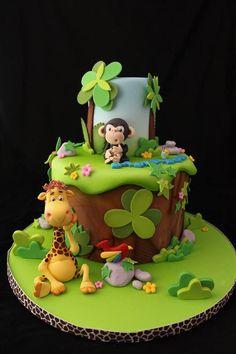 Gateau D anniversaire Zoo Beautiful Jungle Safari and Zoo Cake Ideas Inspirations Baby Cakes, Baby Shower Cakes, Cupcake Cakes, Jungle Theme Cakes, Safari Cakes, Zoo Cake, Super Torte, Rodjendanske Torte, 1st Birthday Cakes