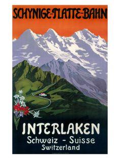 Interlaken Swiss Railway Poster, circa 1930s Giclee Print at AllPosters.com
