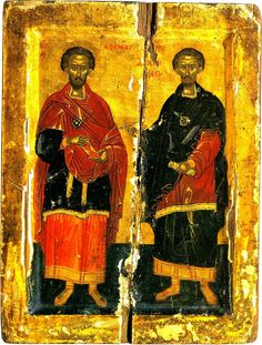 """Accepting no payment for their services led to them being named Anarguroi (Ανάργυροι, """"Unmercenaries""""); it has been said that, by this, they attracted many to the Christian faith. Raphael Angel, Archangel Raphael, Byzantine Art, Byzantine Icons, Church Icon, Russian Icons, Peter Paul Rubens, Albrecht Durer, Orthodox Icons"""