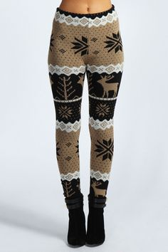 Renalie Reindeer Knit Leggings . These plus a chunky oversized sweater and a mug of hot cocoa.