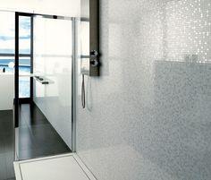Black tiles on the floor and white mosaic on the shower walls Porcelanosa - modern - bathroom tile - seattle - Urbanata Modern Bathroom Tile, Bathroom Plants, Boho Bathroom, Bathroom Trends, Small Bathroom, Master Bathroom, Bathroom Designs, Bathroom Ideas, Bathroom Closet