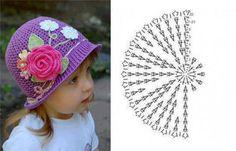 Diy Crochet Pretty Panama Hat For Girls - Diy Crafts Crochet Summer Hats, Crochet Kids Hats, Crochet Cap, Booties Crochet, Baby Girl Crochet, Baby Hats Knitting, Crochet Beanie, Diy Crochet, Knitted Hats