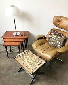 Lounging in the leather and teak Plycraft $650  Danish Torpe teak interlocking nesting tables $695, perfect condition! Yugoslavian jute folding ottoman $225 • Made in Italy mid century chrome and glass mushroom lamp $325 • Pillows $74 each. 〰〰〰 #midcenturyfurniture #midcenturymodern #madeindenmark #goals #mondaymornings #mondays #cozy #kilim #pillow #yugoslavian #danish #danishmodern #danishdesign #plycraft #teak #nestingtables #jute #loungechair #vintagelamp #chrome