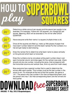 Download your FREE Superbowl Squares sheet before the big game!