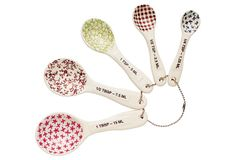 Patterned Measuring Spoons, Cooking Prep Tools from One Kings Lane. Shop more products from One Kings Lane on Wanelo. Shabby Chic Farmhouse, Kitchen Tools And Gadgets, Measuring Spoons, Kitchen Accessories, Baking Accessories, Kitchenware, Tableware, Magenta, Stoneware