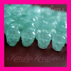 100 White Glow In The Dark SKULL Pony beads Kandi by KandyLand, $9.99
