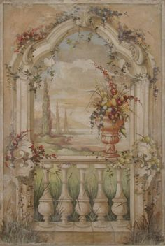 Decorative Archway With A Landscape And Vase Of Flowers by Fresco Arte, Italy (www.frescoarte.com)