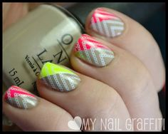 Using the scotch tape method, Color Club Warhol and Sinful Colors Neon Melon are on the diagonal corner of the nail. And it's finished off with a chain design from one of the You Mix Cosmetics XL stamping plates. THE MOST POPULAR NAILS AND POLISH Hair And Nails, My Nails, Neutral Nail Art, Nail Stamping, Stamping Plates, Nails First, Holiday Nail Art, Disney Nails, Creative Nails