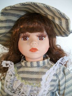 "J Misa Collection Porcelain Doll 1 of 2000 16"" Tall Brown Hair Brown Eyes  #JMisa"