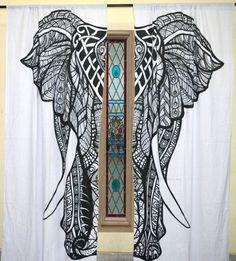 Large Elephant 2 Panels Door Curtains Bohemian 2 panels window hanging