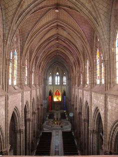 This is the interior of the Basilica in Quito