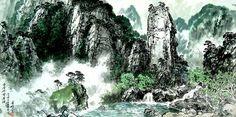 (North Korea) 명경대 in Mt. Geumgang by Roh Seon-ju (1937- 1997). 노선주.