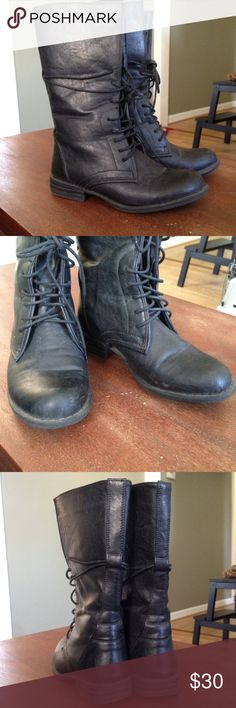 LAST CHANCE DELETING FRI 4/6 Black lace up boots Only worn a few times Shoes