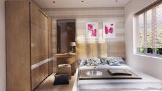 dormitorio al estilo minimalista con espejo grande
