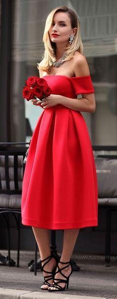 #spring #fashion | OTS Red Midi Dress |Postolatieva
