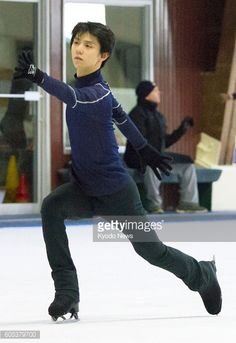Japanese figure skater Yuzuru Hanyu works out during a practice session in Toronto Canada on Sept 13 which was open to media The Sochi Olympic...