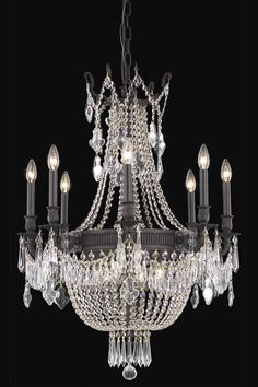 Elegant Lighting - 9312 Esperanza Collection Hanging Fixture D26in H37in Lt:12 Dark Bronze Finish (Royal Cut Crystals)